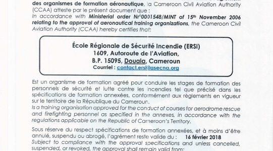 Certification de l'ERSI par la CCAA le 11 MAI 2018