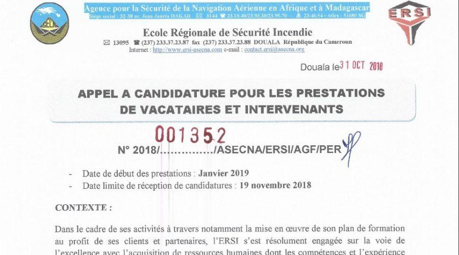 Appel à  candidature vacataire 2019